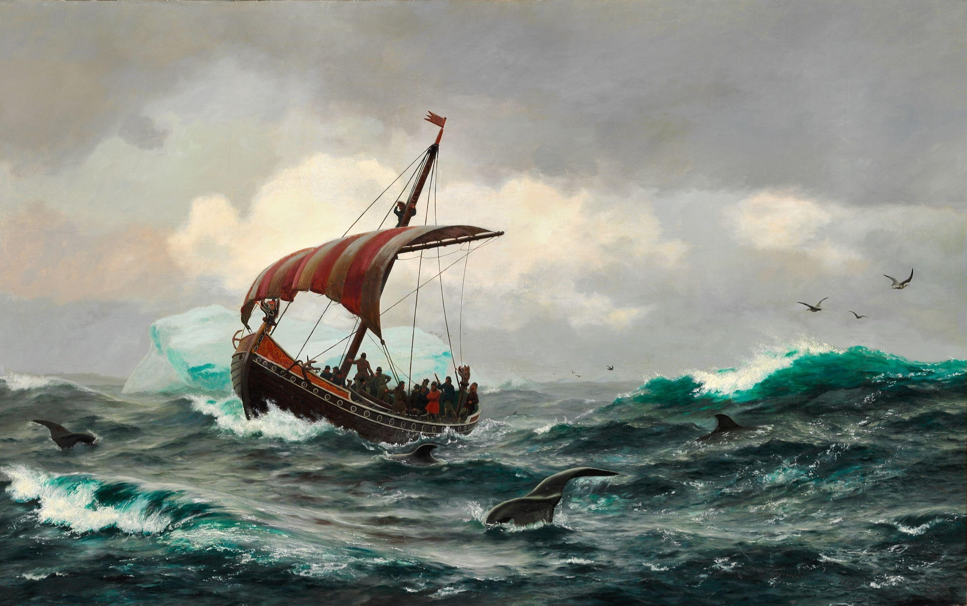 Viking ship on high arctic waters