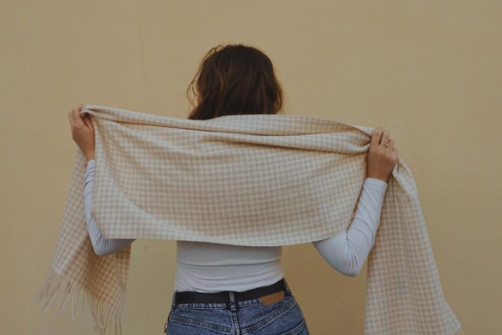 Tartan Blanket Co. Oversized Gingham Scarf in Oatmeal