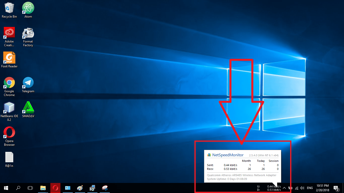 Cara Menambah Internet Speed Monitor di taskbar Windows 7, windows 8, windows 10