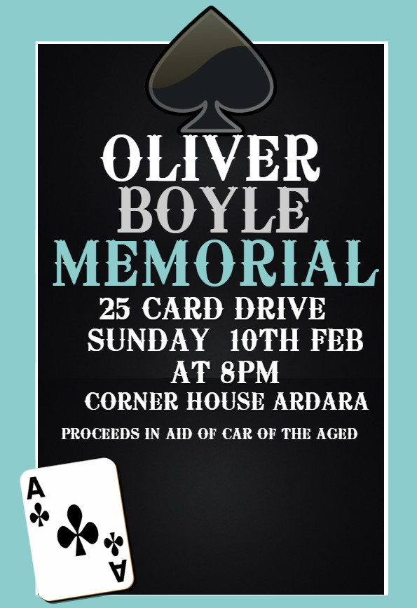 Annual Oliver Boyle Memorial 25 Card Drive