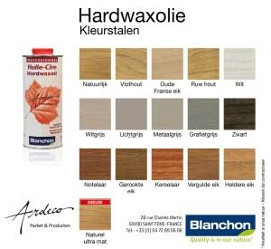 kleurstalen, hardwax, hardwaxolie, huile, cire, hardwaxoil, blanchon