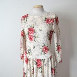vintage long sleeve cotton jersey floral print maxi dress
