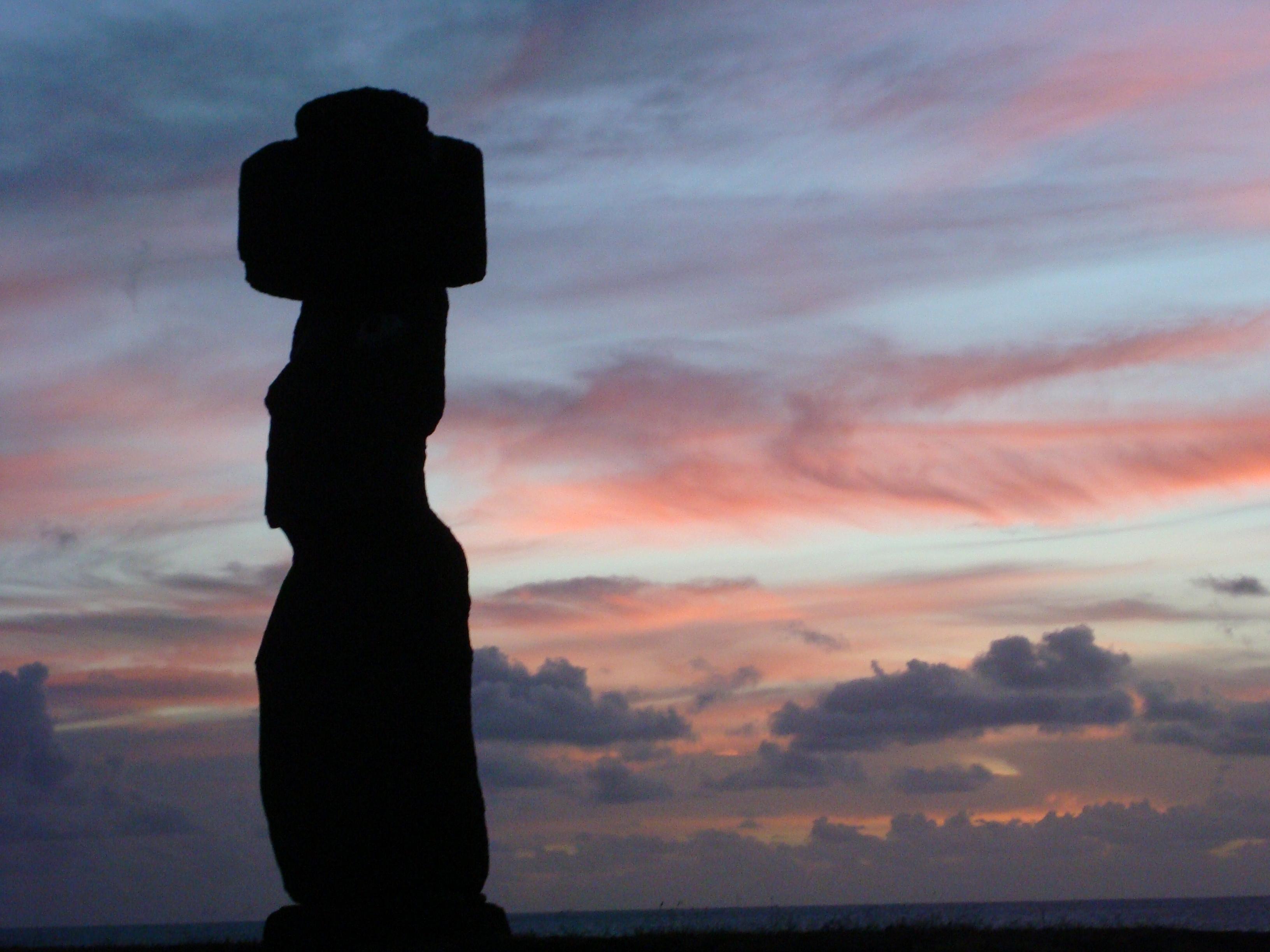 Easter Island sunset Moai