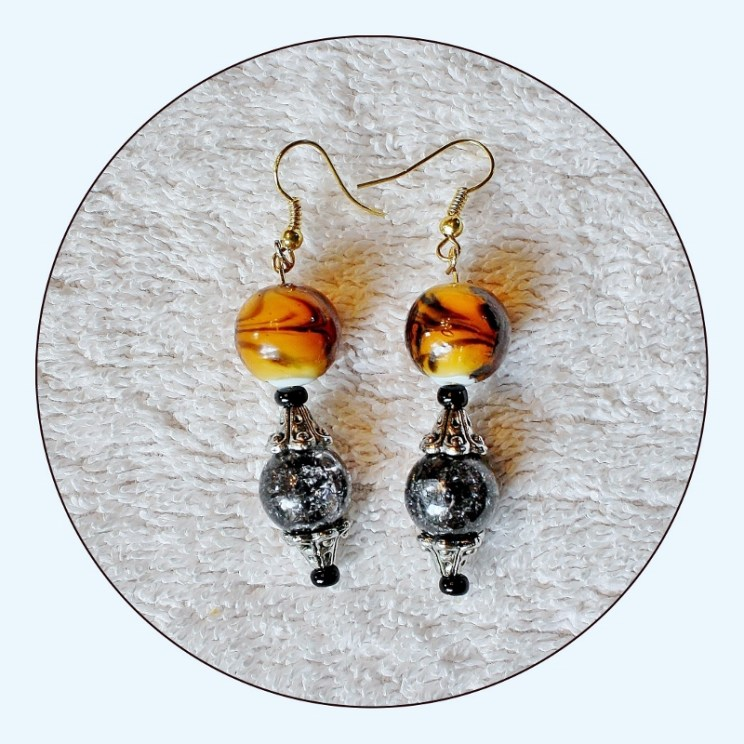 Statement Earrings, Marbled Earrings, Yellow and Black, Modern earrings, Womens, womens earring, long earrings, drop dangle, Item # ERYB15 Mothers Day Gift, Sparkle Earrings, Gift for Her, Gift for Mom, Mothers Day