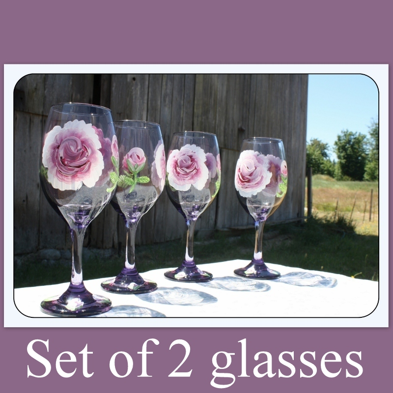 Purple wine glasses, Set of two, Hand painted, wine glass gift idea, rose pattern,stemware,Mother's Day gift,wedding gift,rose, Item # PWG-2