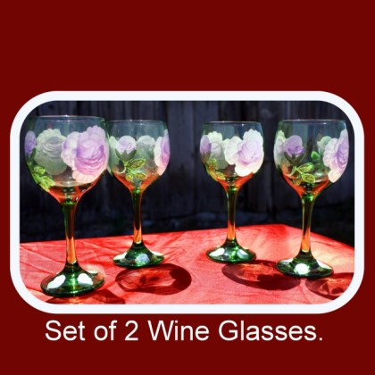 Set of Two,hand painted glasses,painted wine glasses,bohemian green glass,drinking glasses,floral drinkware,beverage glasses, Item #GWG-2 floral pattern, table decor, anniversary gift, wedding gift, stemware gift, unique gift,