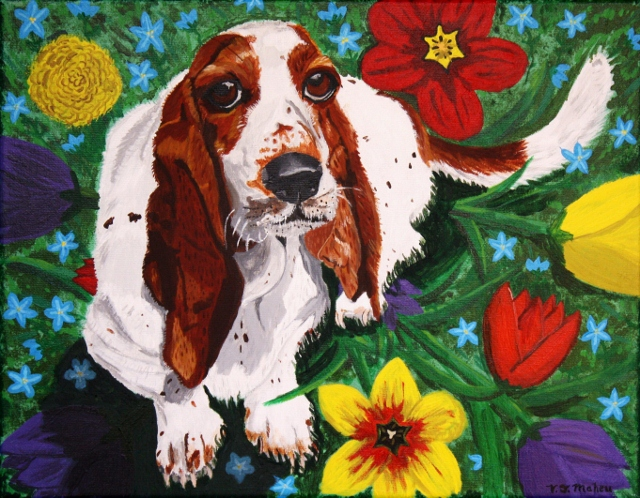 Basset Hound, hand painted pet portrait.