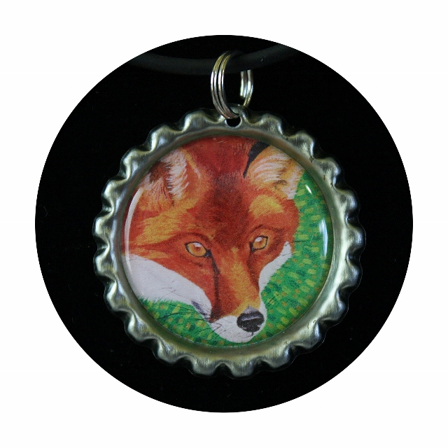Red Fox necklace, fox lovers gift, gift for girl, gift for daughter, bottle cap pendant, fox art pendant,woods jewelry,animal art, Item #FN1 gift for woman, gift for her, wildlife art, fox pendant, art print necklace