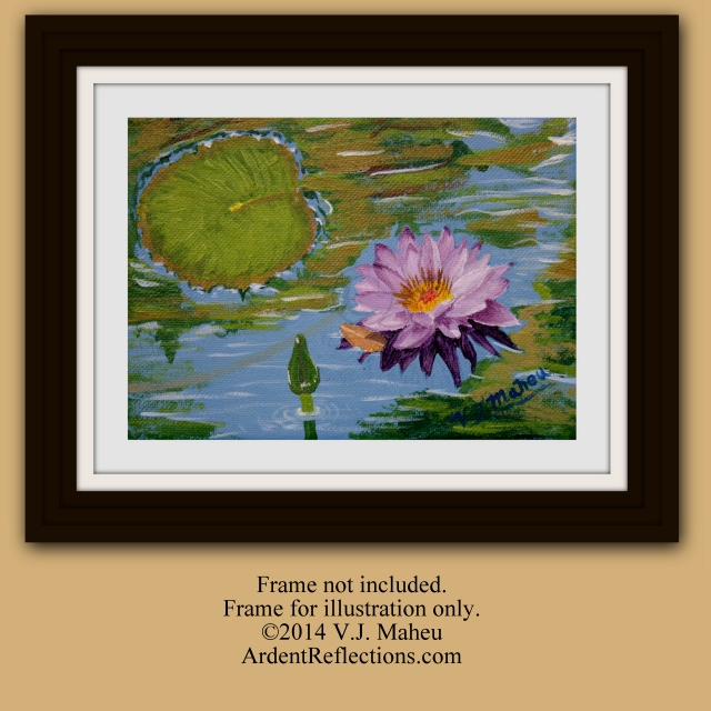 Purple Lotus, Pink lillies, Lily pad art, water lilies art, water lily painting, miniature painting, flowering, gift ideas, Item #WLO1 floral art painting, lily pads art, impressionistic flower, impressionist flower, decor painting, wall art