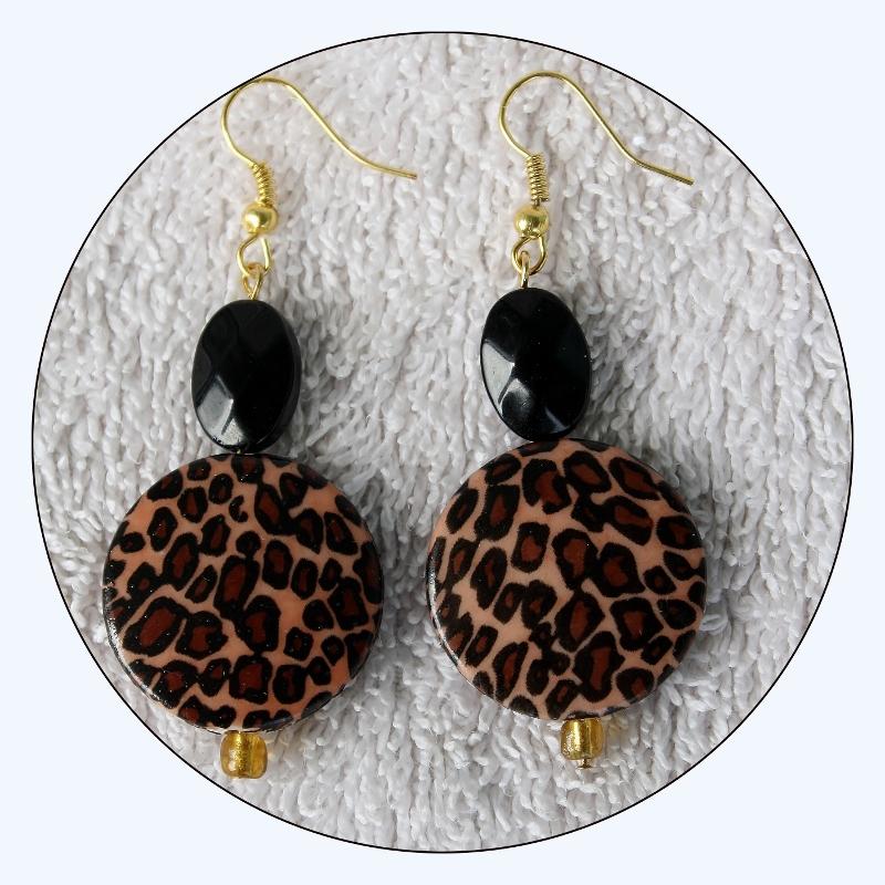 Leopard print, funky fun, cheetah earrings, black and brown, elongated earrings, lightweight earrings, cat print earrings,boho, Item #LPE-01 bohemian, disk beads, hook earrings, African Print