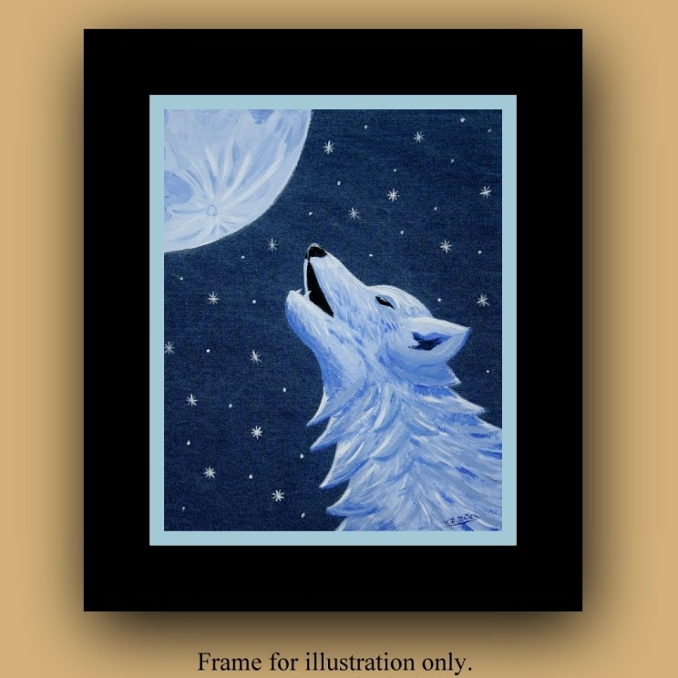 Wolf Decor, Wolf wall Art, Wolf painting, howling wolf, wolf art, original painting, denim decor, denim wall art, denim wolf, Item #LLB-O1