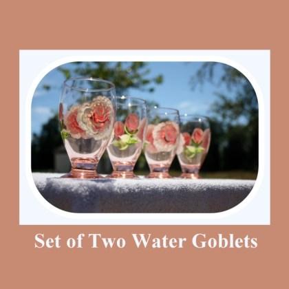 Set 2 Water Goblets, 9oz glass, hand painted glass, Juice glasses, Peach tinted glass, hand painted roses, hand painted flowers, Item #PWG2 spring or summer cup, spring time glass, summer drink glass, wedding gift, housewarming, kitchen glass