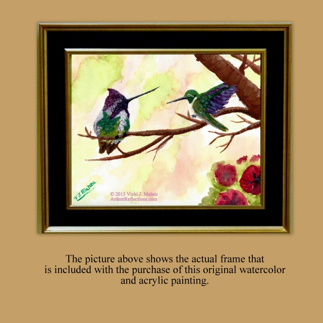 Framed Watercolor, Hummingbird Painting, hummingbird art, 8x10 hummingbird, impressionist, 8 x 10 painting, original painting, Item #CHO1 bird picture, collector art, signed watercolors, hummingbird pictures, framed wall art, ready to hang