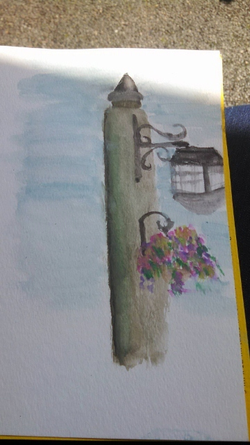 The lampost I decided to paint.  First time using watercolors since grade school, and I didn't even have a pencil to sketch it in first.