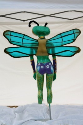 Queen of the Mantis Flies, finished sculpture, whole body, back view.