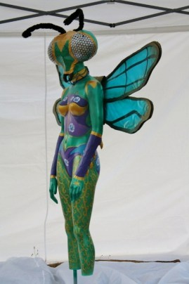 Queen of the Mantis Flies, finished sculpture, whole body, side view.