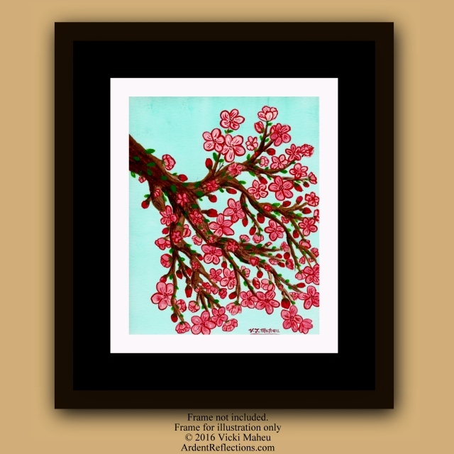 Cherry blossom art, cherry blossoms, watercolor blossoms, spring flowers, Mother's Day,Blossoming branch, Sakura, Japanese Art, Item #CBW-P1 watercolor paintings, watercolor flowers, pink cherry blossom, Asian Wall Art, Asian decor