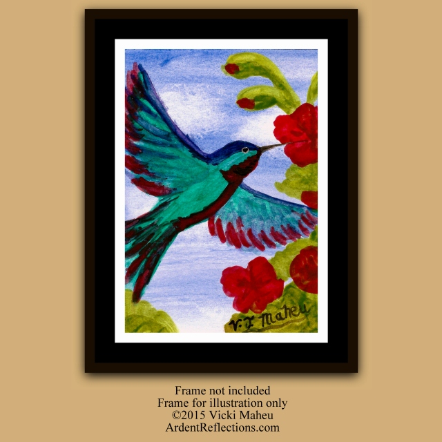 Hummingbird wall art, wildlife, watercolor art print, hummingbird gift, hummingbird print, nature home decor, bird watercolor, Item #HH2P1 bird nursery print, Mother's Day, Mothers Day, Children's decor, animal painting, hummingbird lover