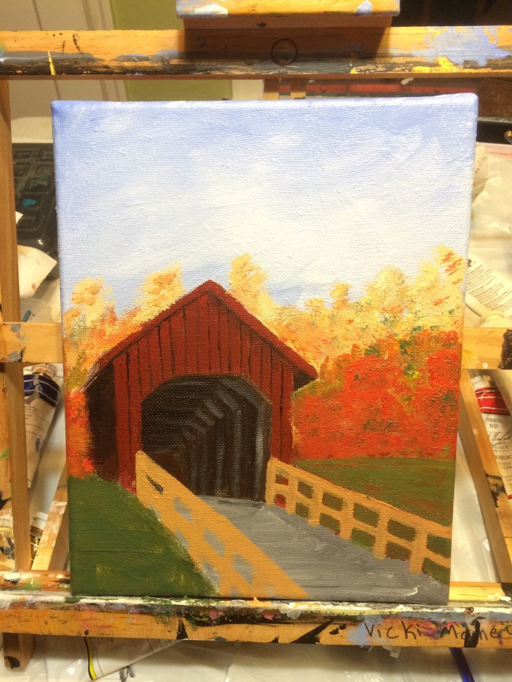 Covered bridge, fall painting.