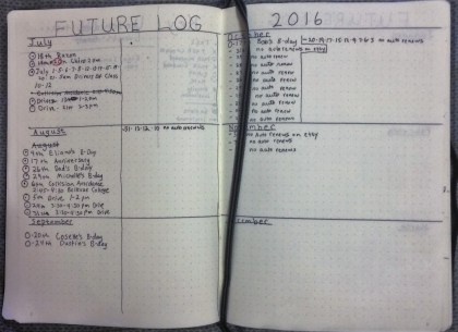 Bullet Journal 1st future log.