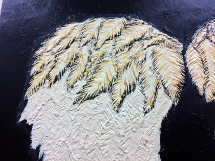 Daryl Dixon inspired wings textured painting in progress.