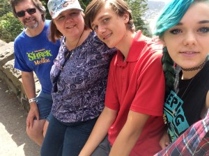 From Left to right, my husband Bob, myself, my son Samuel, and my youngest daughter Danielle.