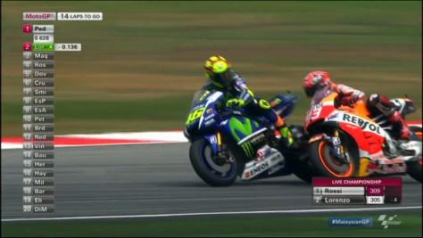 Terlihat Rossi melihat ke belakang dan sengaja melebar mendekati Marquez...