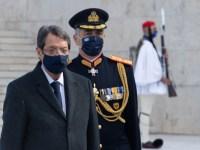 Ο Πρόεδρος της Δημοκρατίας κ. Νίκος Αναστασιάδης στη στρατιωτική παρέλαση για τα 200 χρόνια από την Ελληνική Επανάσταση. Πλατεία Συντάγματος, Αθήνα, Ελλάδα