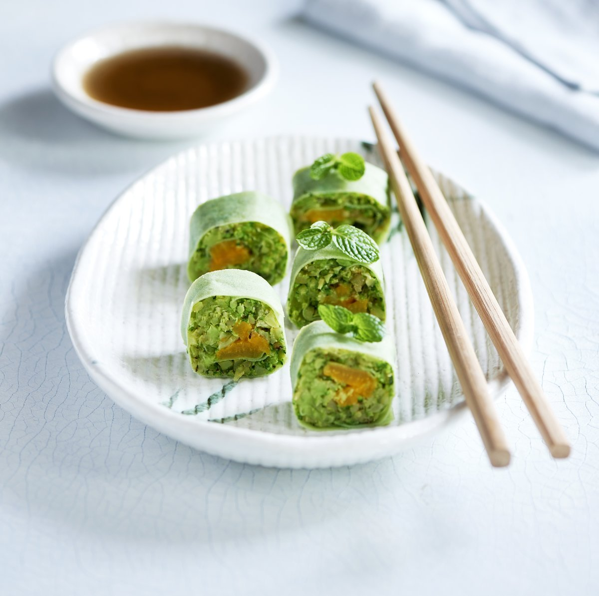 green broccoli rice sushi with grilled yellow pepper
