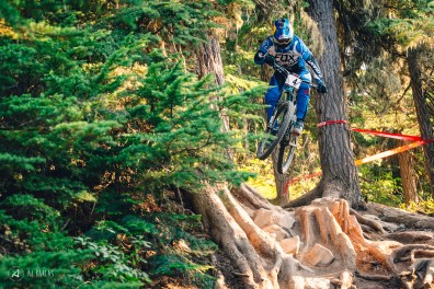 Gutierrez was the only rider to hit this line on a trail bike, showing full commitment to retaining his Garbanzo DH title