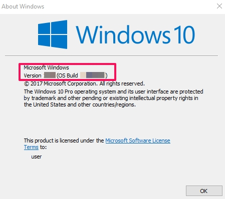 about windows version