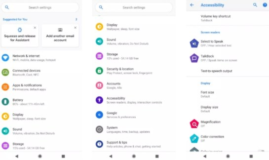 android p configuration