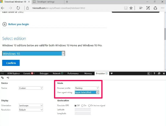 switch user agent edge browser