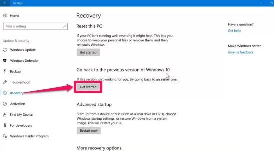 windows 10 recovery setting