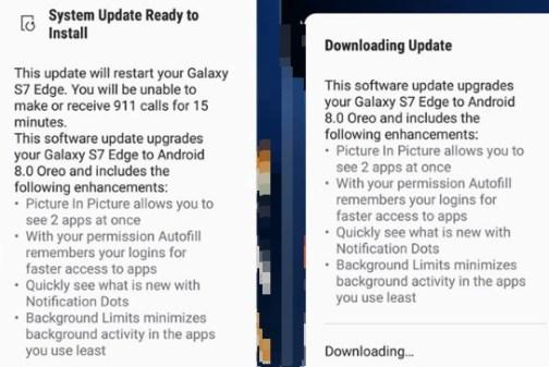 oreo update version s7 and s7 edge