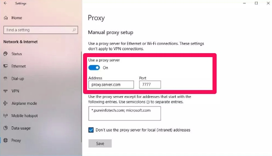 proxy server manual setup windows 10