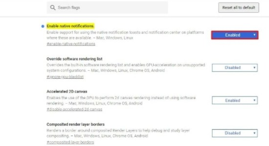 enable chrome native notifications windows 10