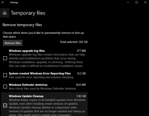 temporary files settings windows 10