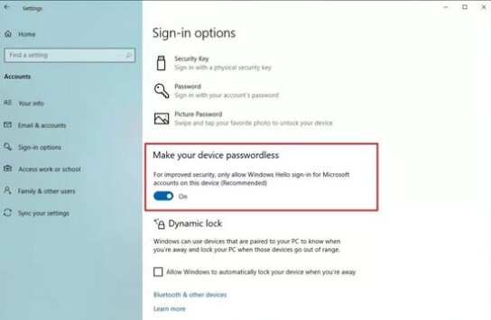 passwordless setting in win 10