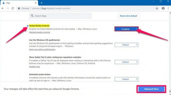 enable global media controls chrome browser