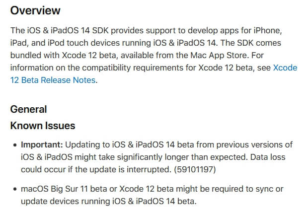 ios 14 release notes and changelog