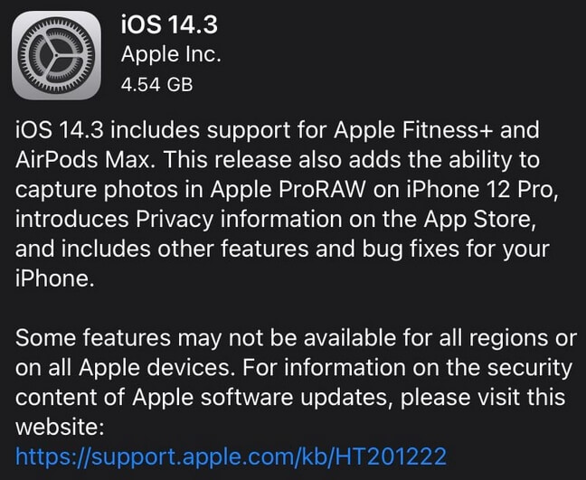 ios 14.3 release note
