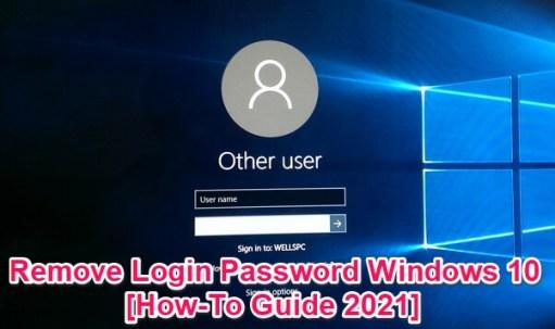 remove login password on windows 10
