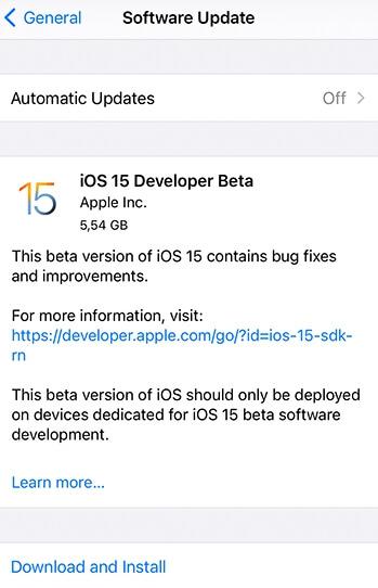 ios 15 beta update