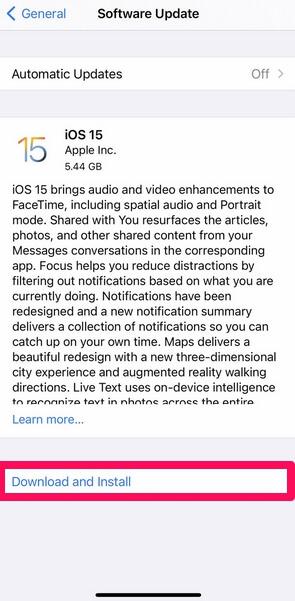 ios 15 ota update