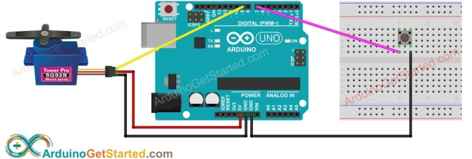 arduino  button  servo motor  arduino tutorial