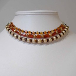 Carnelian, pearl, crystal neclace convertible to bracelet ~2005