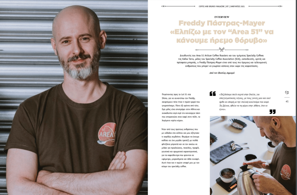 Interview Freddy Pastras on Coffee and Brunch Magazine