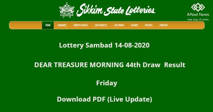Sikkim State Lottery Result DEAR TREASURE MORNING 44th Draw