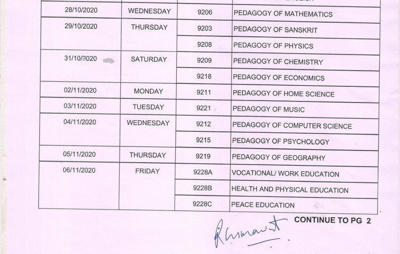MLSU Time Table 2021 B.Ed 2nd Year